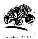 vector cartoon monster truck.... | Shutterstock .eps vector #356717477