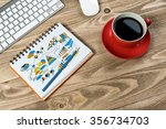 notepad with idea sketches... | Shutterstock . vector #356734703