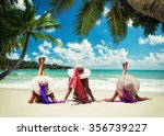 three women in white swimsuit... | Shutterstock . vector #356739227