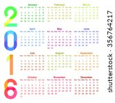 2016 year colorful calendar | Shutterstock . vector #356764217