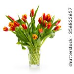 ouquet of orange tulips on a ... | Shutterstock . vector #356822657