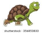 cartoon turtle in sneakers...   Shutterstock .eps vector #356853833