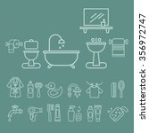 various bathroom elements icons ... | Shutterstock .eps vector #356972747