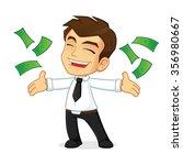 rich businessman throwing money | Shutterstock .eps vector #356980667