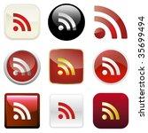 rss glossy buttons. vector... | Shutterstock .eps vector #35699494