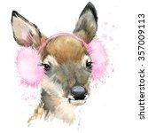 cute forest deer t shirt... | Shutterstock . vector #357009113