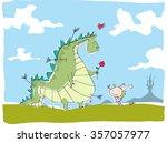 vector cartoon dragon and... | Shutterstock .eps vector #357057977