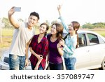 young  people enjoying road... | Shutterstock . vector #357089747