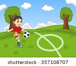 kids playing soccer in the park ... | Shutterstock .eps vector #357108707