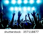 silhouettes of concert crowd in ... | Shutterstock . vector #357118877