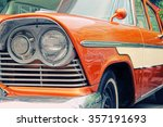 Closeup Of Old Car With Orange...