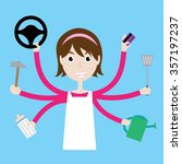 multitasking housewife. | Shutterstock .eps vector #357197237