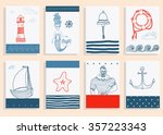 hand drawn sea icons cartoon... | Shutterstock .eps vector #357223343