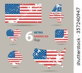 collection of american flags in ... | Shutterstock .eps vector #357240947