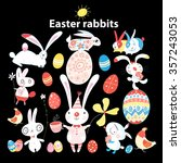 funny set of easter bunnies and ... | Shutterstock .eps vector #357243053