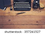 retro typewriter hero header | Shutterstock . vector #357261527