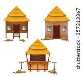 beach huts collection vector... | Shutterstock .eps vector #357313367