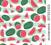 watermelon stripe seamless... | Shutterstock .eps vector #357321323