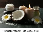 spa coconut products on dark... | Shutterstock . vector #357353513