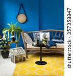 Blue Wall Interior Yellow Rug...