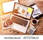 view of a wood businessman's... | Shutterstock . vector #357370613