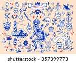 big set of hand drawn old... | Shutterstock . vector #357399773
