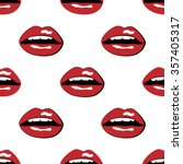 red lips with teeth pop art... | Shutterstock .eps vector #357405317