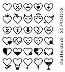 heart icon set. vector romantic ...   Shutterstock .eps vector #357410153