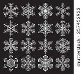 set of 16 snowflakes  ... | Shutterstock .eps vector #357453923