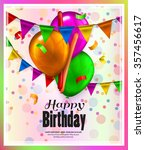 birthday card with colorful... | Shutterstock .eps vector #357456617