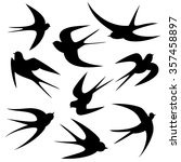 swallows tattoo template vector ... | Shutterstock .eps vector #357458897