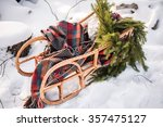 Empty Real Sleigh With Pine...