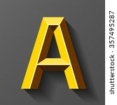 gold font with bevel  letter a... | Shutterstock .eps vector #357495287