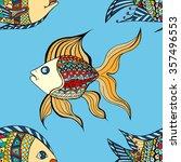 seamless zentangle fish...   Shutterstock .eps vector #357496553