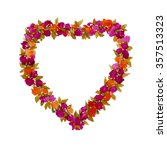 wreath of flowers red yellow.... | Shutterstock . vector #357513323