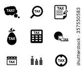 vector black tax icon set.  | Shutterstock .eps vector #357550583