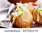 baked potato with chives ... | Shutterstock . vector #357552173