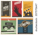 Retro cinema posters and flyers collection. Vintage movie signs layouts. Promotional film printing templates for ads or banners on old paper texture.  | Shutterstock vector #357570647