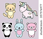 set collection of cute kawaii... | Shutterstock . vector #357576977