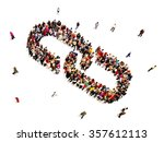 large group of people forming a ... | Shutterstock . vector #357612113