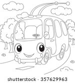 cartoon trolleybus.... | Shutterstock . vector #357629963