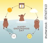groundhog day infographic with... | Shutterstock .eps vector #357637613