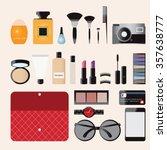 makeup cosmetics bag with... | Shutterstock .eps vector #357638777
