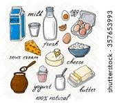 vector dairy products  milk ...   Shutterstock .eps vector #357653993