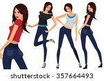 fashionable young girls.... | Shutterstock .eps vector #357664493