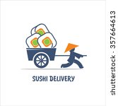 delivery sushi. vector logo. a...