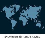 world map dotted on dark... | Shutterstock . vector #357672287