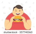 happy fat man eating a big... | Shutterstock .eps vector #357740363
