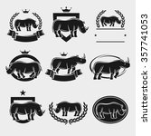 rhinoceros label and icons set. ... | Shutterstock .eps vector #357741053