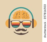 hipster listening a song with... | Shutterstock .eps vector #357816503